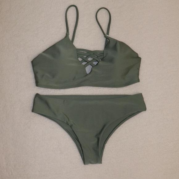 innovative design authorized site great deals on fashion NWOT! Zaful Olive Green Bikini Set